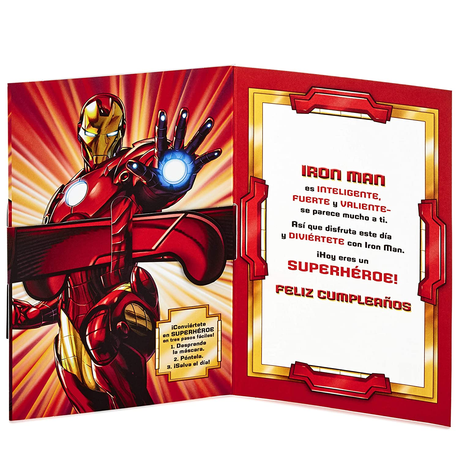Amazon.com: Hallmark Vida Marvel Iron Man Spanish Birthday Card for Kids with Removable Mask: Office Products