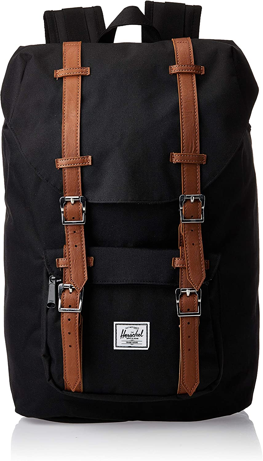 2. Herschel Little America Laptop Backpack, Black/Tan Synthetic Leather, Mid-Volume