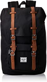 Herschel Little America Laptop Backpack, Black/Tan Synthetic Leather, Mid-Volume 17.0L