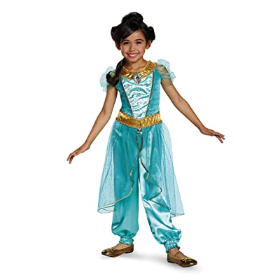 Jasmine Deluxe Disney Princess Aladdin Costume, Medium/7-8: Toys & Games