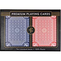 Blue and Red Premium Plastic Playing Cards: Set of 2, Standard Index, Poker Size