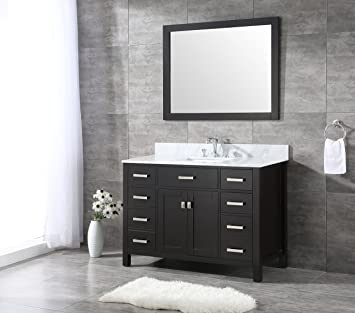 All Wood Espresso Shaker Vanity Complete 48 Inch White Carrara