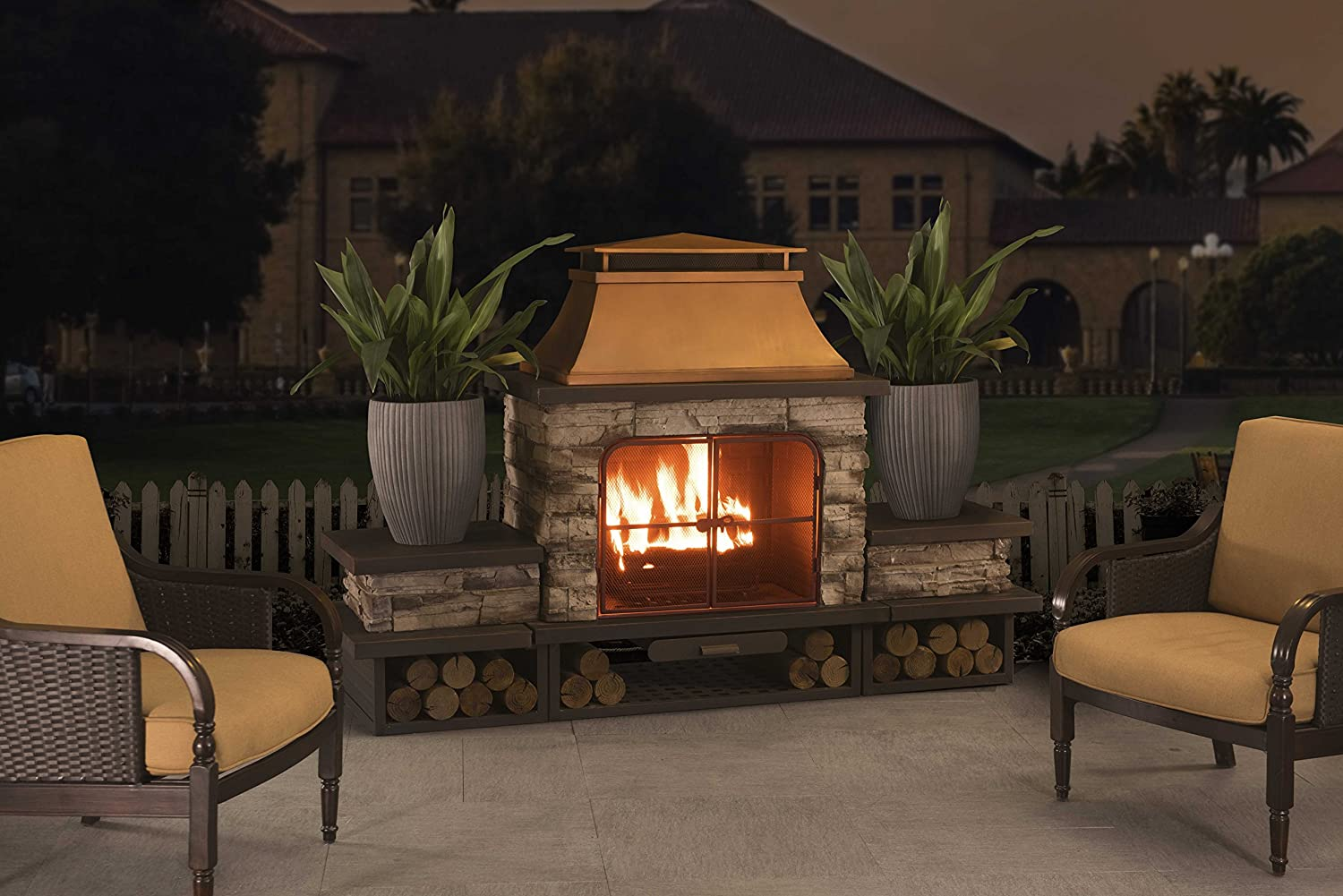 amazon com sunjoy bel aire fireplace large with two table flats