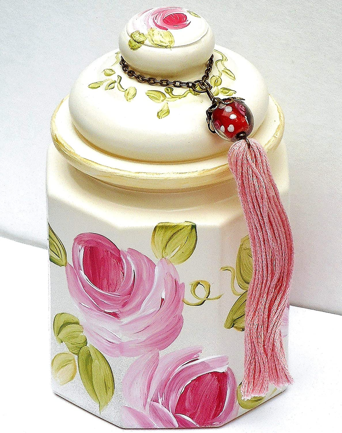 Amazon Com Romantic Shabby Chic Bathroom Accessories Large Ivory Decorative Lidded Glass Jar With Hand Painted Pink Roses And Tassel Handmade