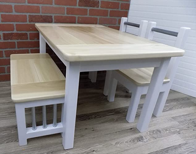 Kids Farmhouse Table Set, Activity Table, White Bases With Natural Tops