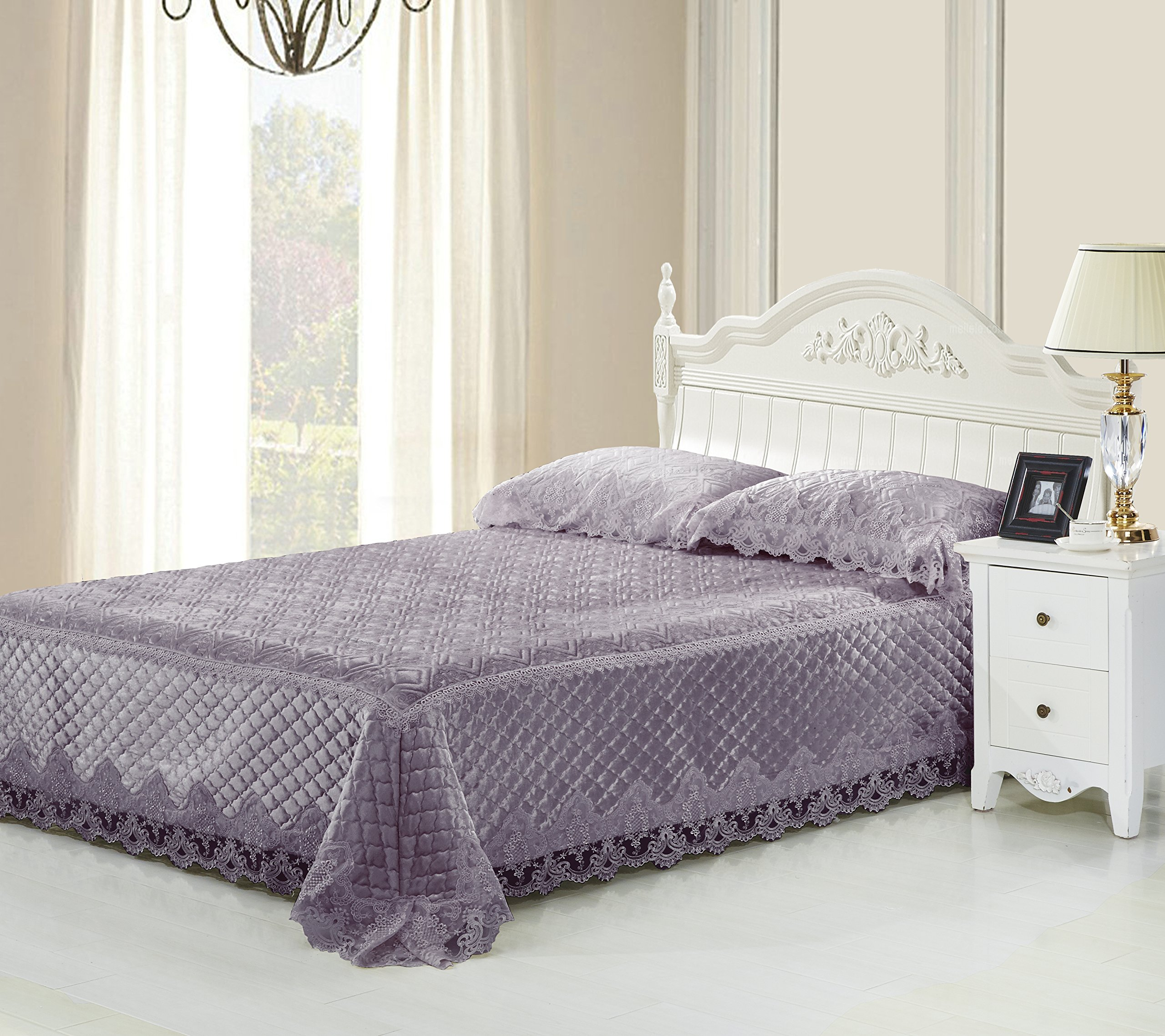Beautiful 100% Polyester Velvet Lace Bed Cover Set with 200GSM Filling Lace 3PCS Wedding Bedding Set (purple) by BIODY