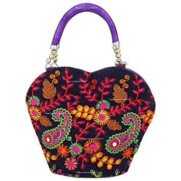 Sphinx Multicolored Handcrafted Embroidery Design Small Hand Bag For