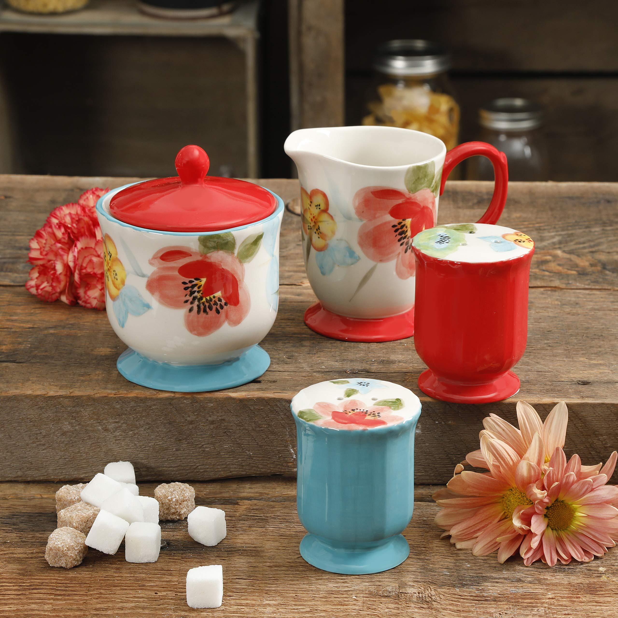 The Pioneer Woman Vintage Floral Bloom 5-Piece Sugar and Creamer, Salt & Pepper Set