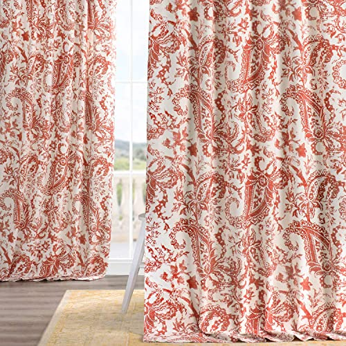 HPD Half Price Drapes PRCT-D09A-120 Printed Cotton Curtain 1 Panel