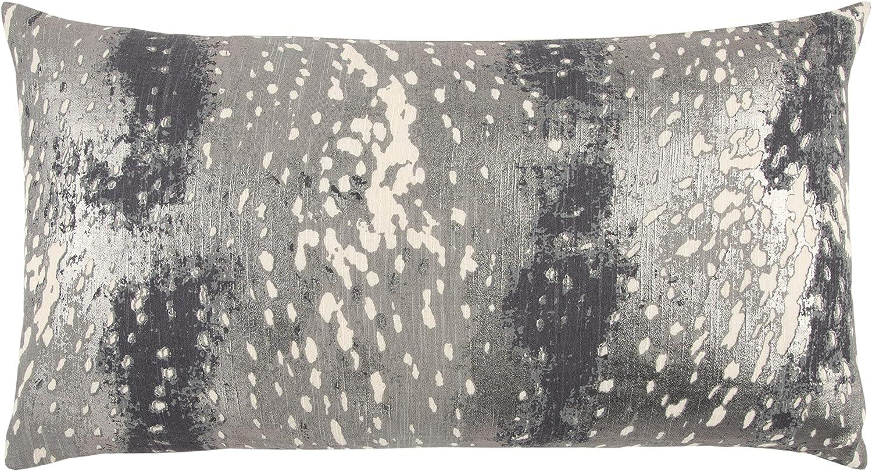 "Rizzy Home T13081 Decorative Pillow, 14""X26"", Gray/Black/Metallic"