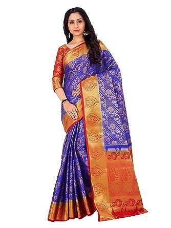3f4c1f7e44 Mimosa By Kupinda Women's Art Silk saree Kanjivaram Style Color : Royal Blue  (4164-260-2D-RBL-ORG): Amazon.in: Clothing & Accessories
