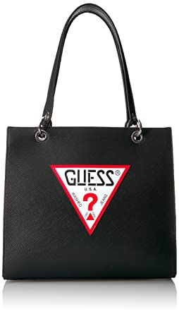 214451b9bd6 GUESS Varsity Pop Shopper, black: Handbags: Amazon.com