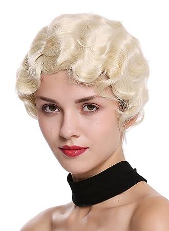 WIG ME UP ® - LD501-22 Peluca mujer corto ondulado raya medio estilo década 1920 Diva Swing Jazz Charleston Chicago rubio platino: Amazon.es: Belleza