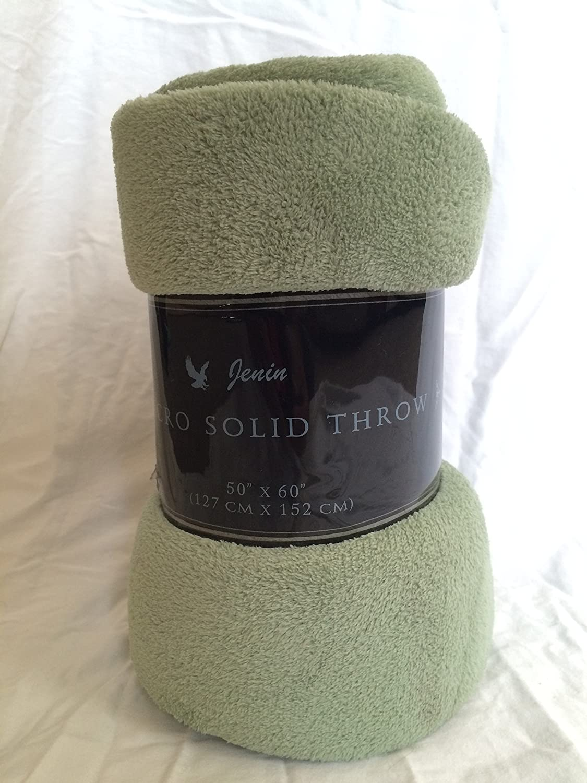 "Goldenlinens Ultra Soft Cozy Plush Fleece Warm Solid Colors Traveling Throw Blanket 50"" X 60"" (127 cm X 152 cm) (Sage)"
