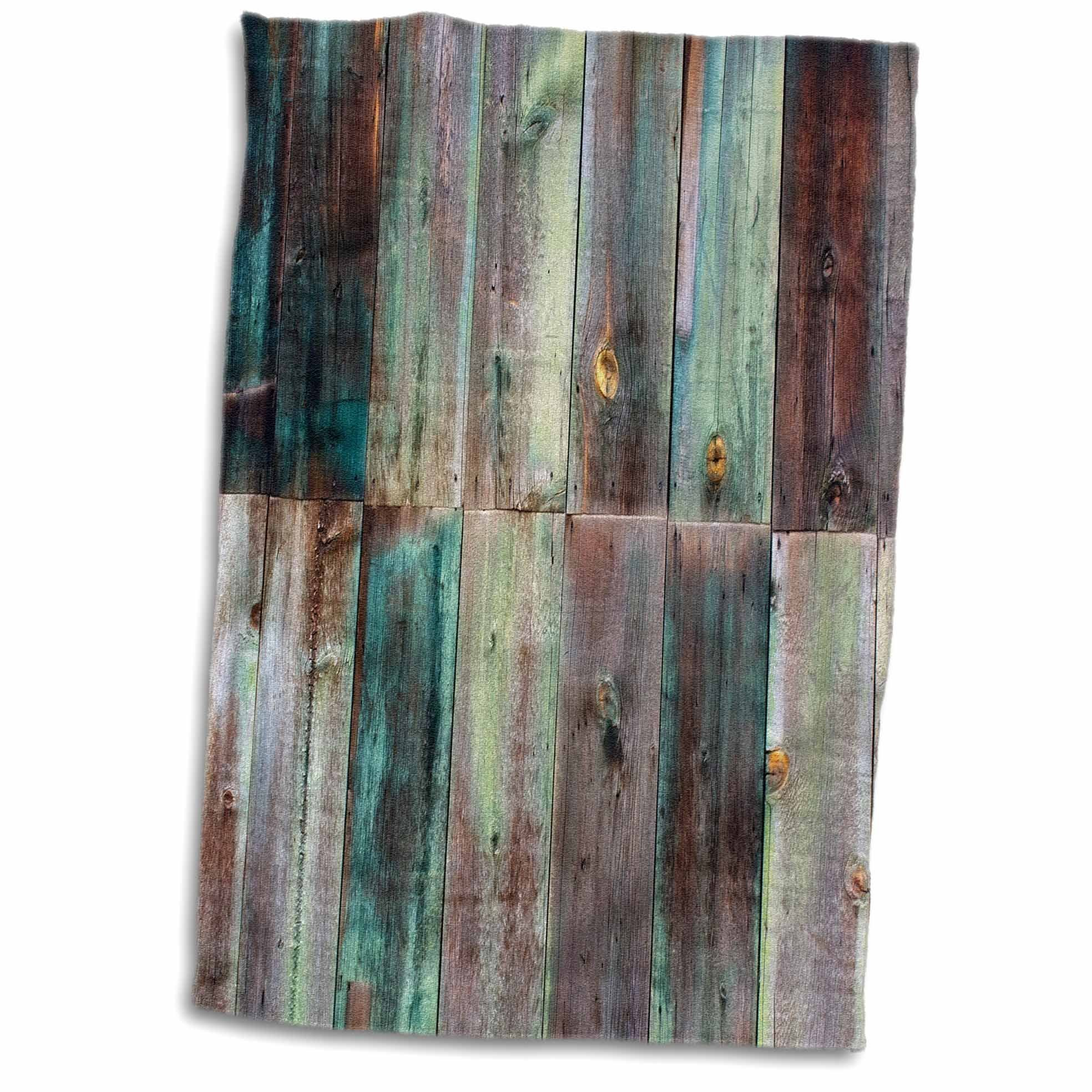 3D Rose Photograph of Turquoise and Brown Distressed Wood TWL_213532_1 Towel, 15'' x 22''
