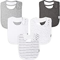 Premium, Organic Cotton Toddler Bibs, Unisex 5-pack Extra Large Baby Bibs for Boys and Girls by KiddyStar, Perfect Baby Shower Gift for Feeding, Drooling and Teething, Adjustable 5 Positions