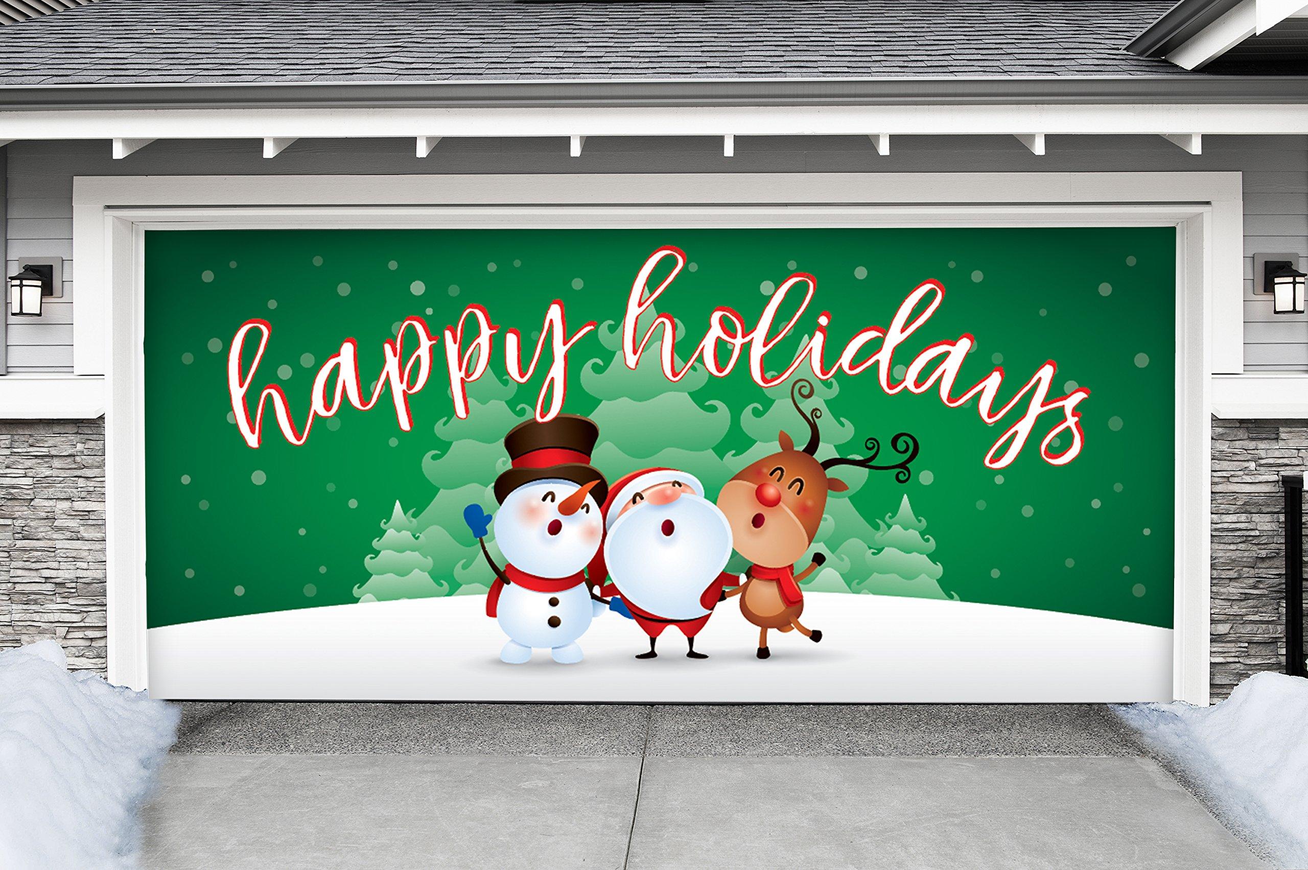 Outdoor Christmas Holiday Garage Door Banner Cover Mural Décoration - Christmas Characters Happy Holidays Winter - Outdoor Christmas Holiday Garage Door Banner Décor Sign 7'x16'
