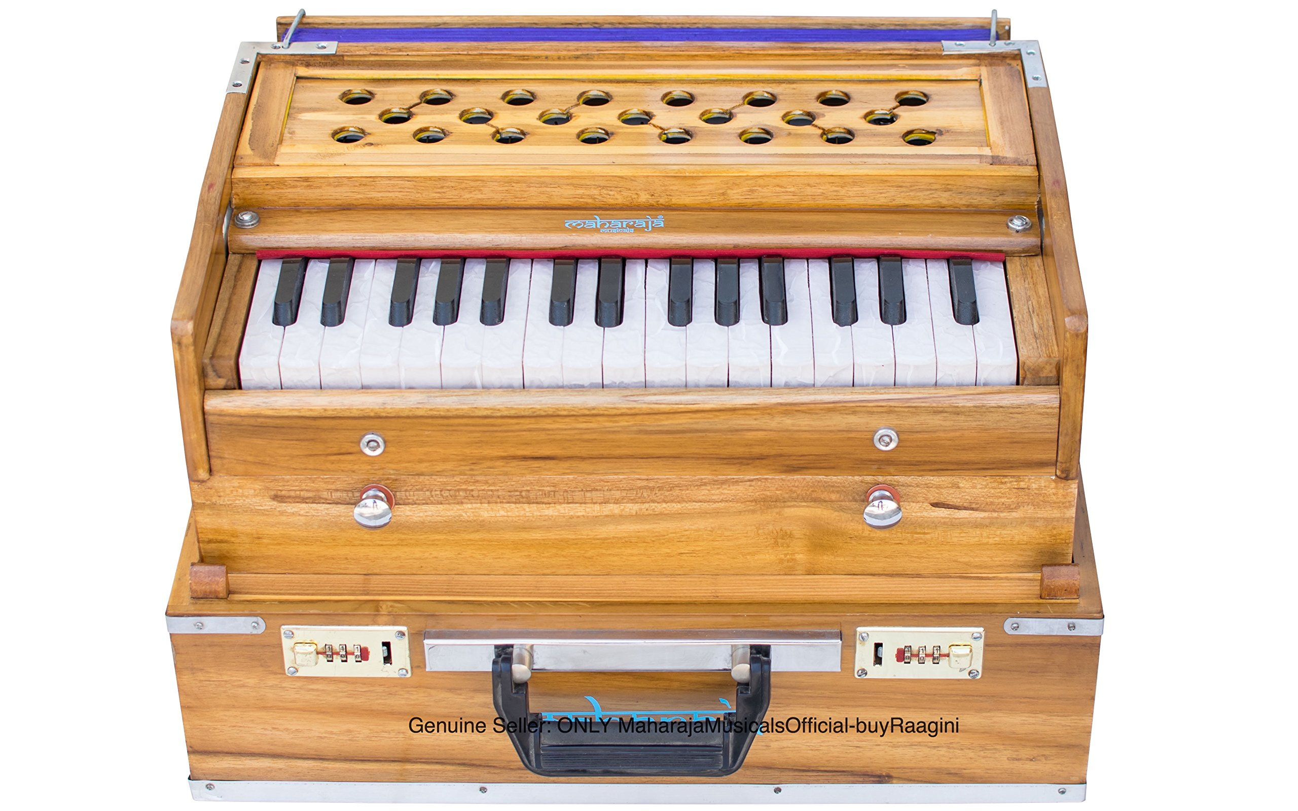 Maharaja Musicals Harmonium, Small, Folding, Double Reed, 34 Keys, Coupler, Tuned To A440, Natural Color, Bag, Book (PDI-EJG)