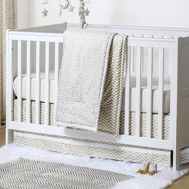Gold Dot and Chevron Zig Zag 3 Piece Baby Crib Bedding Set by The Peanut Shell by The Peanut Shell   B01KOOAG0A