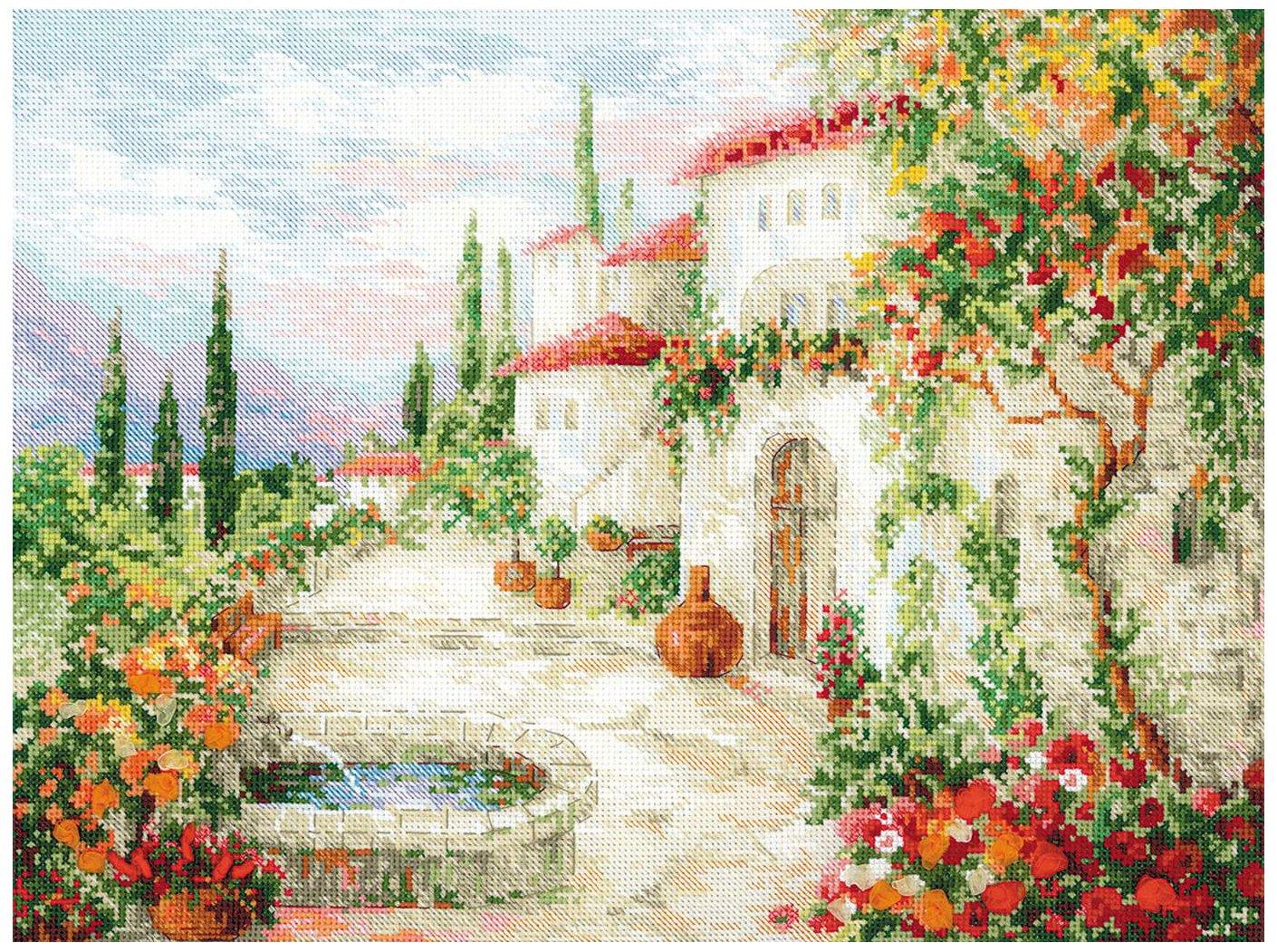 Riolis Kreuzstich-Set Im Urlaub Mehrfarbig 30 x 40 x 0.1 cm Baumwolle