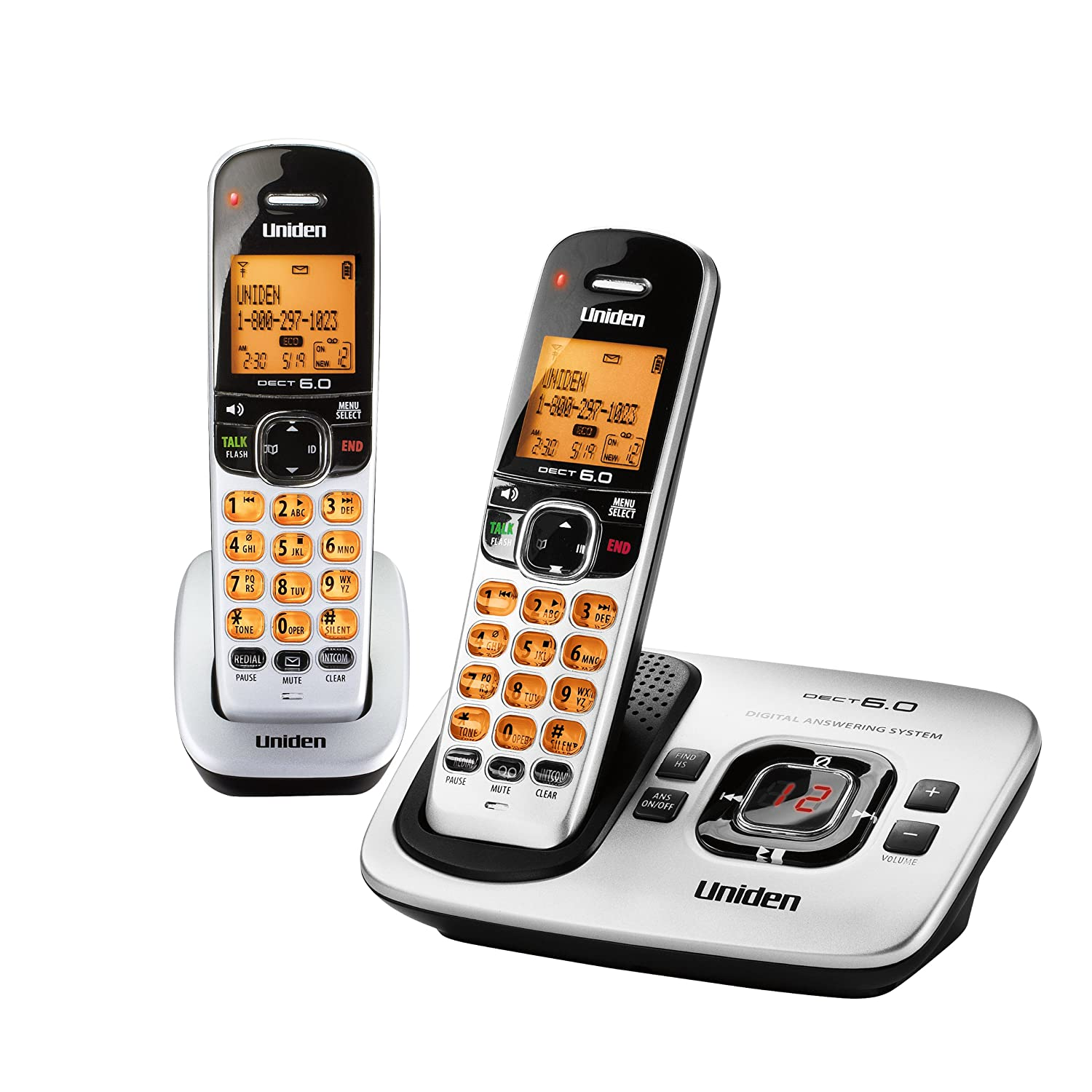 Amazon.com : D1760-2 DECT 6.0 Expandable Cordless Phone with Caller ID,  Silver, 2 Handsets : Cordless Telephones : Office Products