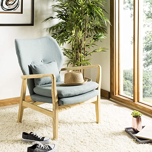 Safavieh Home Tarly Mid-Century Blue and Natural Accent Chair