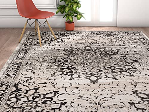 Well Woven Amba Sultana Traditional Distressed Oriental Grey Area Rug 5'3″ x 7'3″