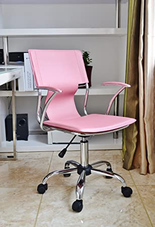 Pink Office Designer Desk Swivel Chair With Steel Arms And Steel