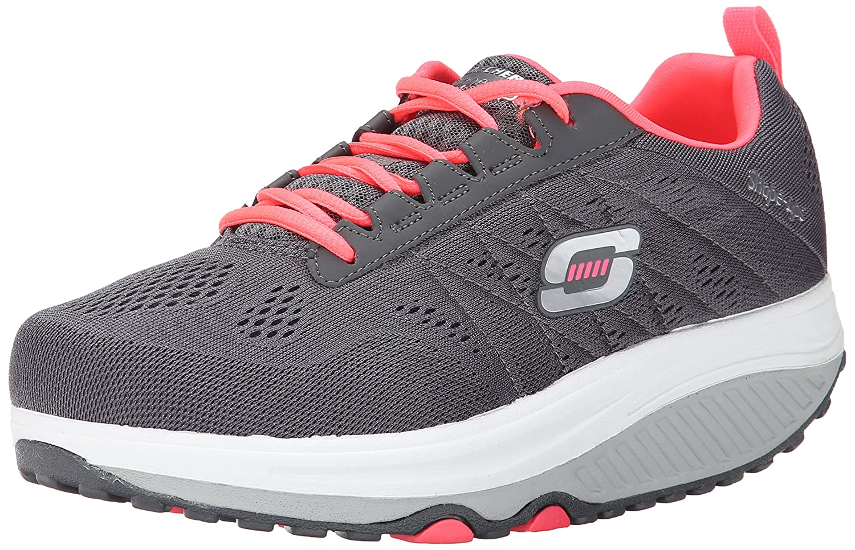 Skechers Women's Shape Ups 2.0 Fashion Sneaker B00SDD0LBE 8 B(M) US|Charcoal/Pink