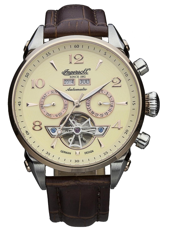 5acd0b94c860a2 Ingersoll IN4514RCR - Orologio automatico da uomo, con quadrante con  cronografo giallo e cinturino in pelle marrone: Amazon.it: Orologi