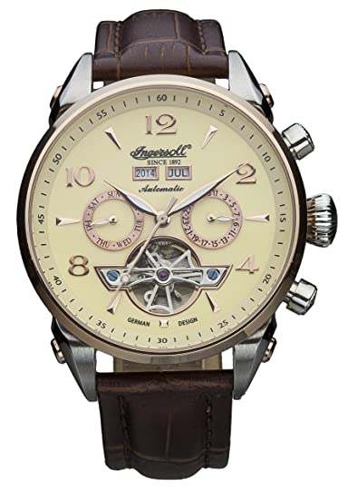 8eb863db9e9c12 Ingersoll IN4514RCR - Orologio automatico da uomo, con quadrante con  cronografo giallo e cinturino in