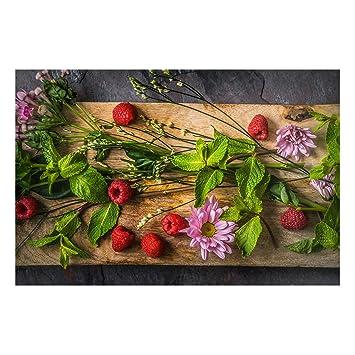 Bilderwelten Pizarra magnética - Flowers Raspberry Mint ...