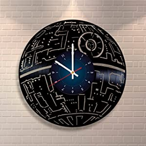 Star Wars - Death Star - Vinyl Record Clock Home Design Room Art Decor Handmade Gift for Him and Her