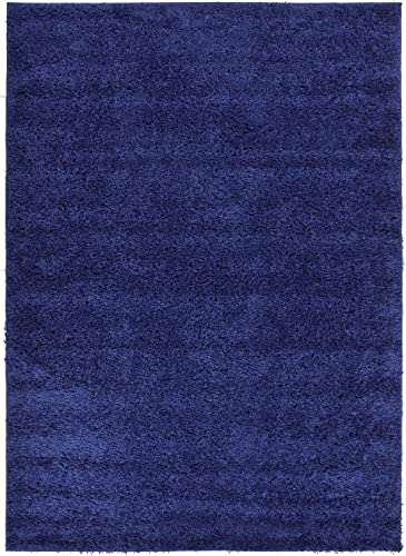 Shaggy Collection Solid Color Shag Area Rugs Navy Blue