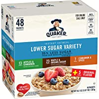 Quaker Instant Oatmeal, Lower Sugar, 4 Flavor Variety Pack, Individual Packets,...