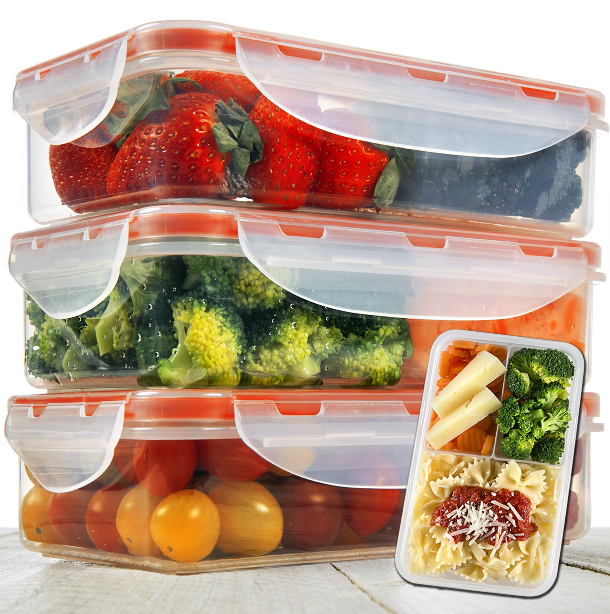 Bento Lunch Box 3pcs set 24oz - Meal Prep Containers Microwavable - BPA Free Leak Proof - Portion Control Containers - Food Containers Meal Prep 3 Compartments Dishwasher Friendly - Snap Locking Lid