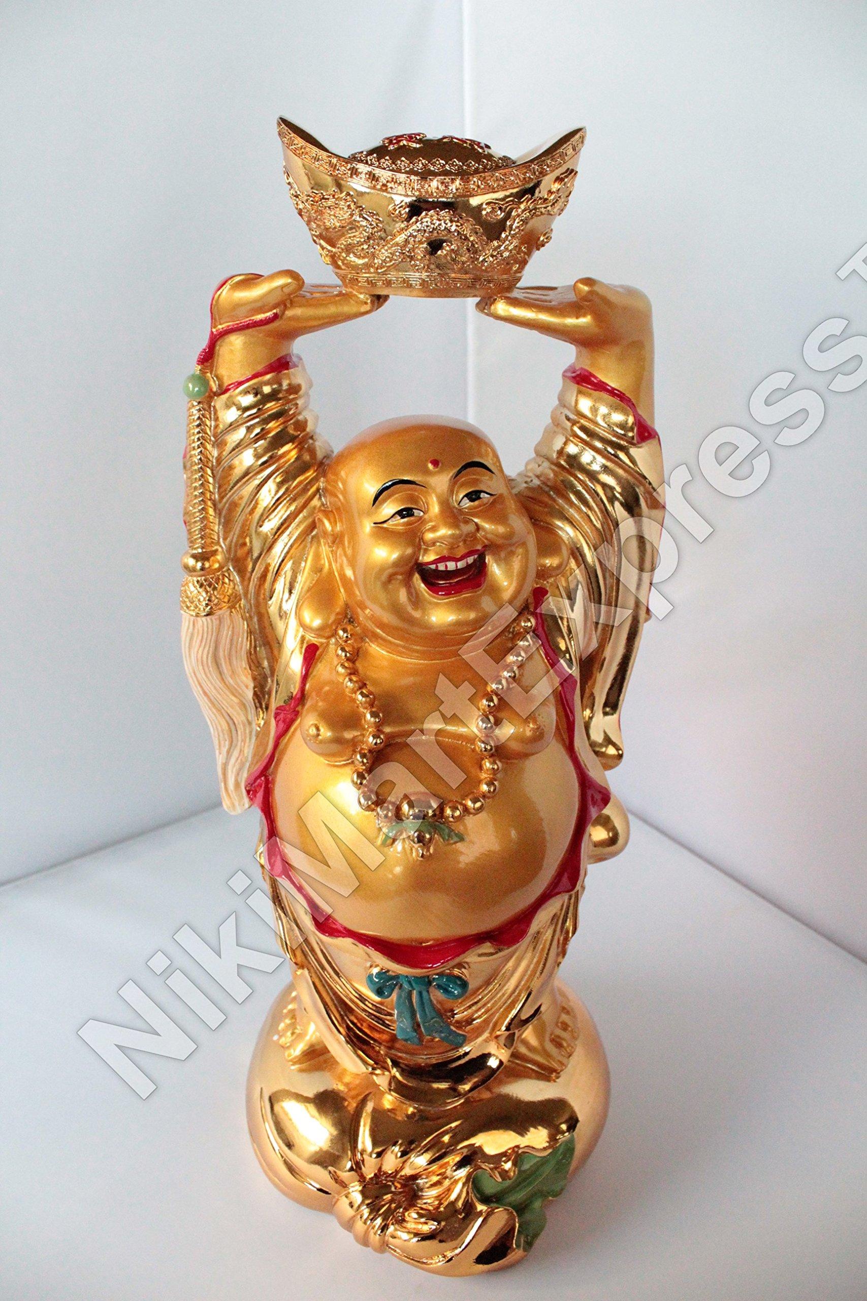 18'' Huge Golden Chinese Feng Shui Love Happiness Longevity Wealth Happy Laughing Buddha w Gold Ingot