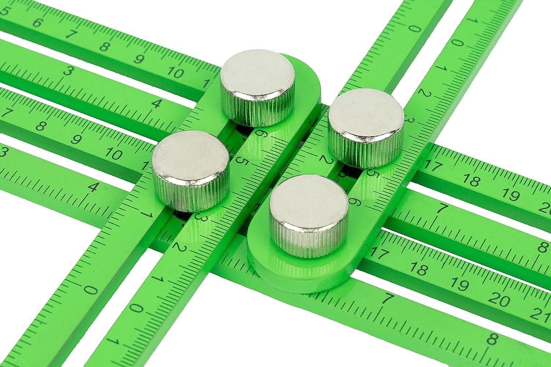 Tool Tacticians Regla de plantilla multi á ngulo | Incluye un lá piz de marca | Herramienta de aluminio durable con tiradores de Metal y 4 cara cierre