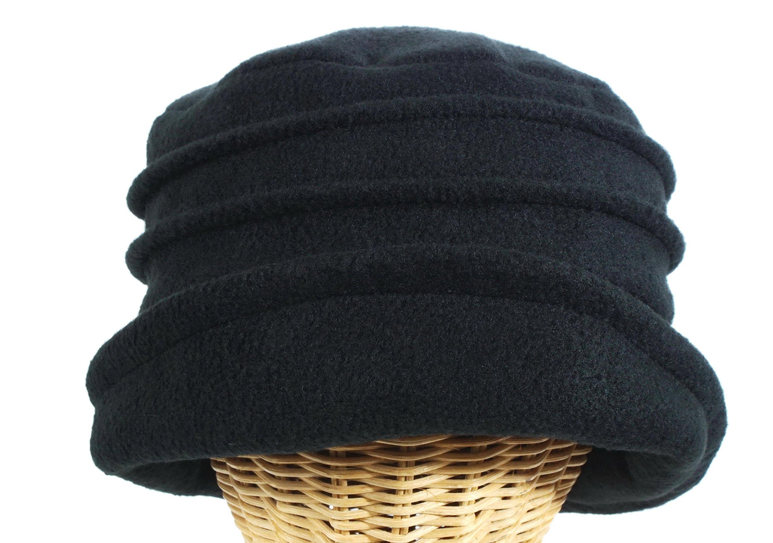 Women's Dip Brim Fleece Pleated Cloche Black