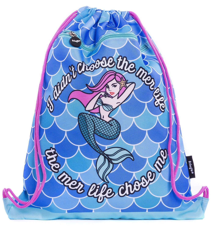 FRINGOO® Kids Drawstring Bag with Front Zipped Pocket PE Kit Bag School Backpack (L:34cm*H:42,5cm, Balloon Dog)