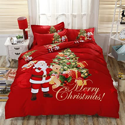 Christmas Comforter.Ktlrr 3d Red Christmas Kids Duvet Cover Set 1pc Duvet Cover 1pc Bed Sheet 2pc Pillowcase No Comforter 100 Cotton Twin King Queen Size Christmas