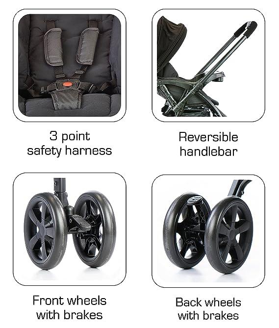 LuvLap Grand Stroller/Pram, Easy Fold, for Newborn Baby/Kids, 0-3 Years (Black)