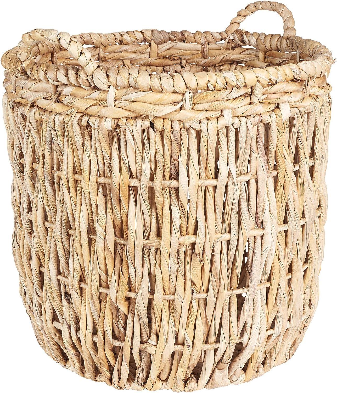Amazon Com Household Essentials Brown Tall Round Wicker Storage Basket Home Kitchen