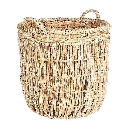 Household Essentials ML 6649 Tall Round Floor Storage Basket With Handles,  Light Brown