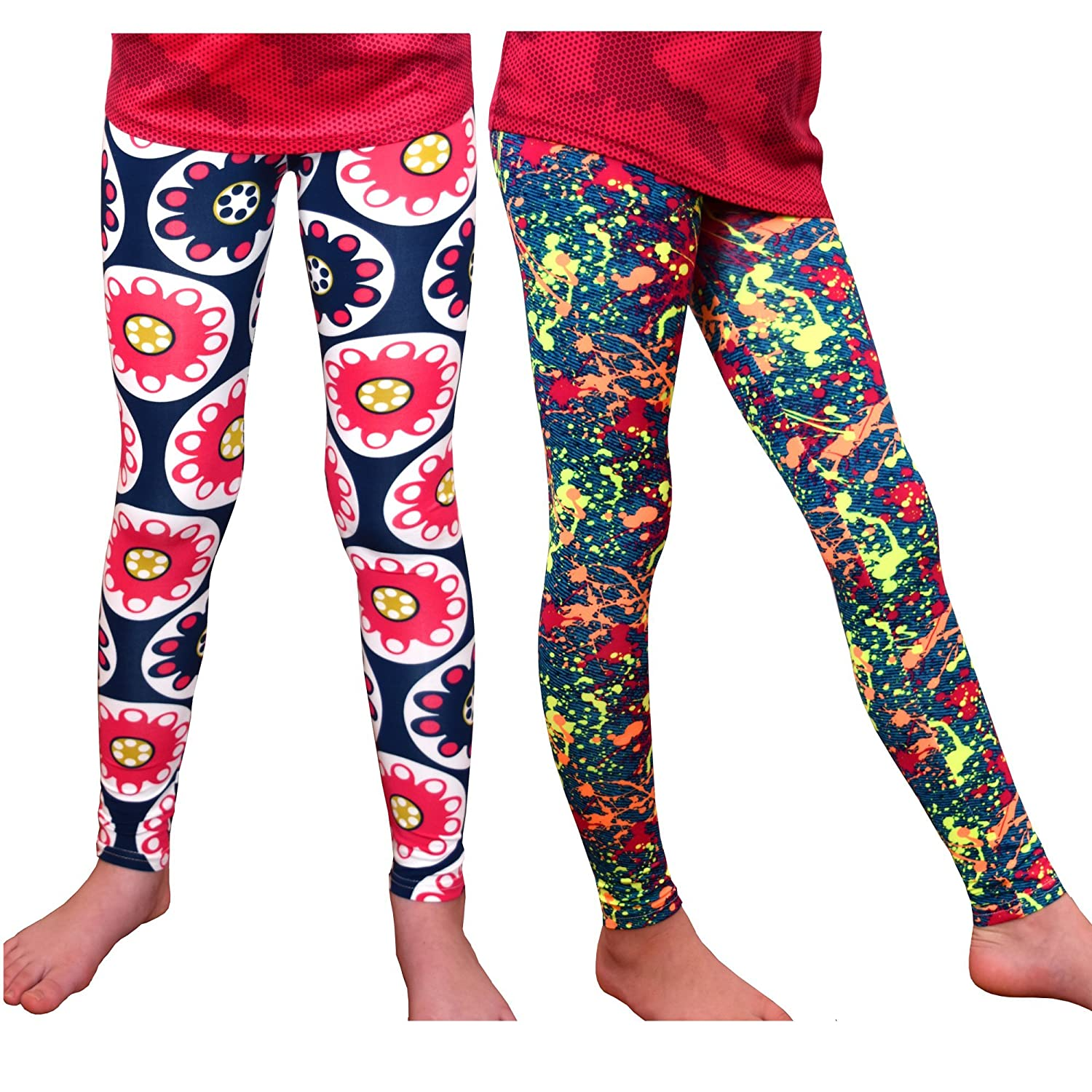 Syleia Girl High Rise Leggings Set of 2 Bright Patterns Great Stretch