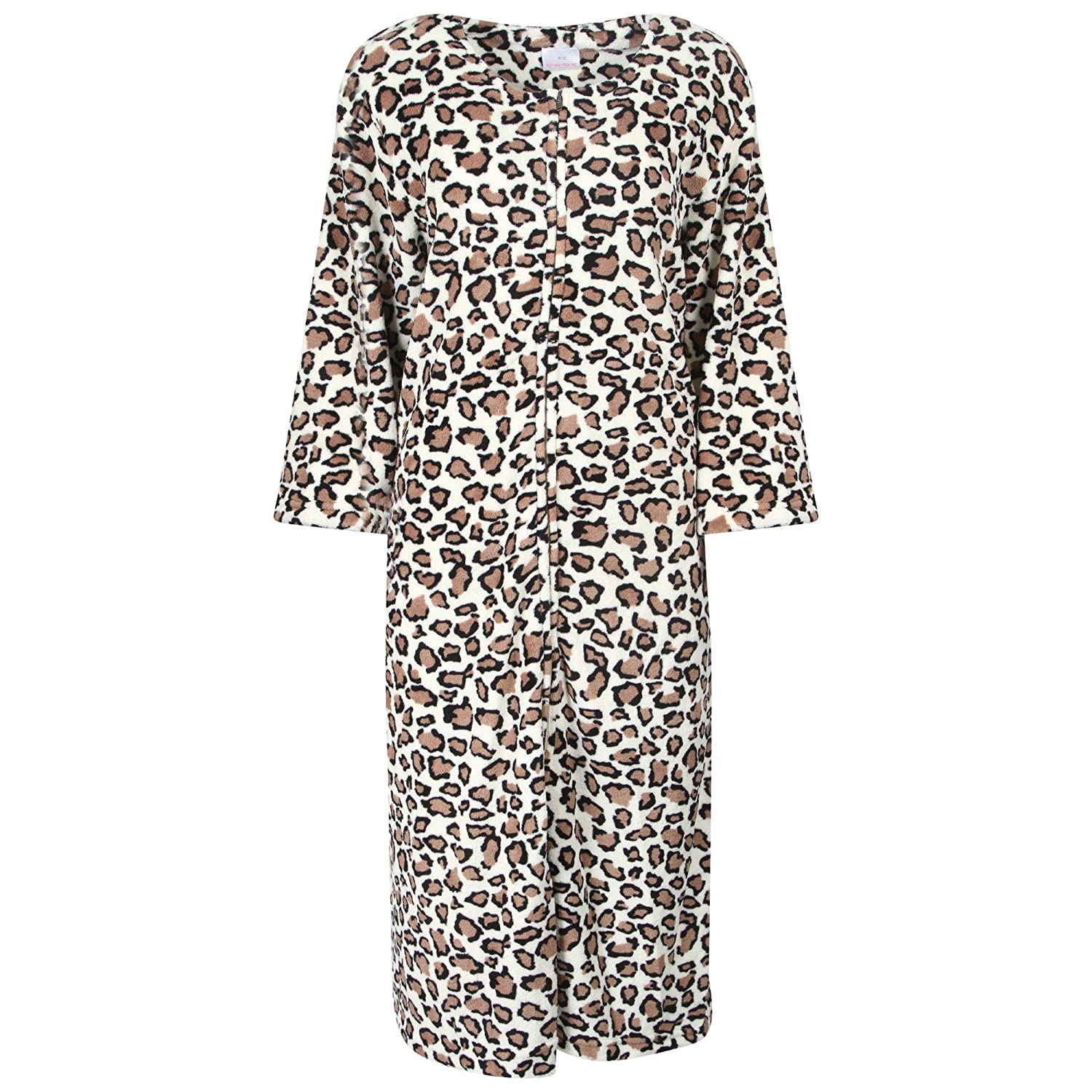 Ladies Zip Front Animal Print Fleece Dressing Gown. Ivory/Brown. Sizes 10-12 14-16 18-20 22-24