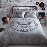 Legend Double Bed Duvet Cover & 2 Pillowcases American Eagle Rock'n'roll in Grey