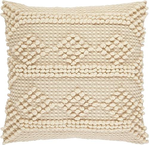 Amazon Brand Stone Beam Modern Textured Throw Pillow – 18 x 18 Inch, Ivory