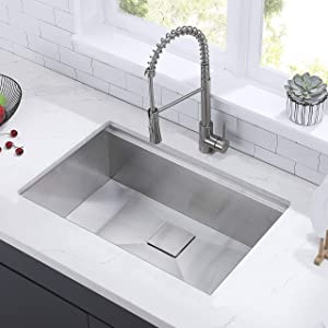 Comllen Commercial 30 Inch 304 Stainless Steel Kitchen Sink,Single Bowl Kitchen Sink 10 Inch Deep Handmade Undermount Sink Workstation Sink