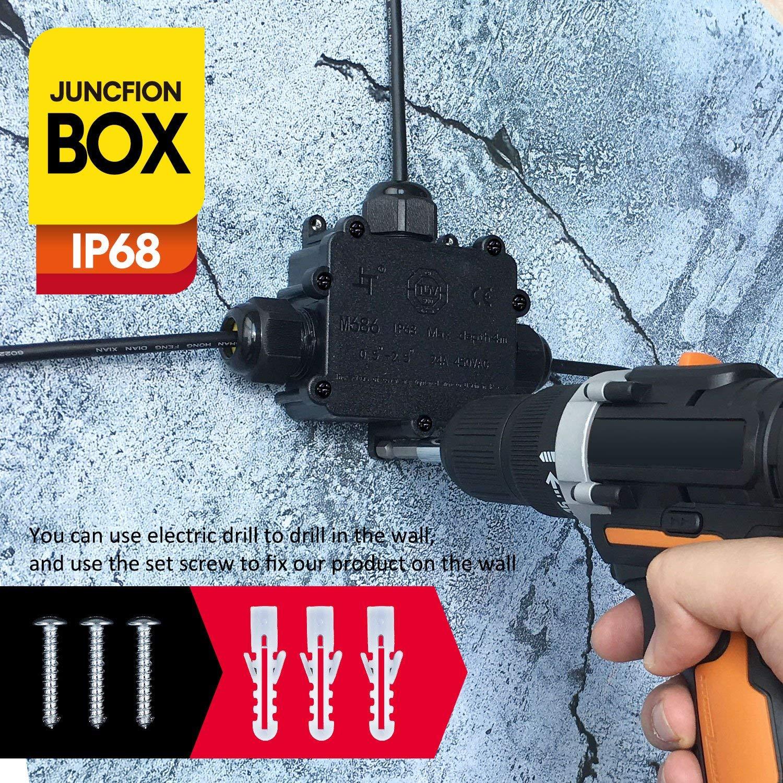 connecteurs de presse-/étoupes IP68 /étanches noir pour diam/ètre de c/âble de 4 /à 14 mm de SAMHUE paquet de 10 Presse-/étoupes 25 mm